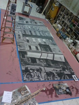 Seattle Opera: La Boheme, set extentions in process. Erhard Rom designer