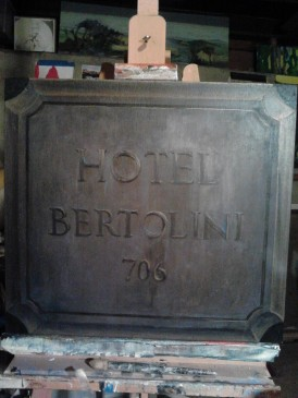 5th Avenue Theatre: A Room with a View; Hote Bertolini sign; Walt Spangler designer