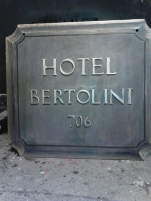 5th Avenue Theatre: A Room with a View. Hote Bertolini sign, now with more gold; Walt Spangler designer