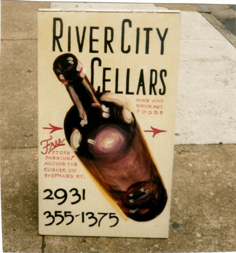 River City Cellars sandwich board sign