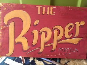 The Ripper sign. A Winter Scene created for the Norfolk Historical Society and Museum's display of a 13' toboggan as part pf the Winter Weekend in Norfolk 2018